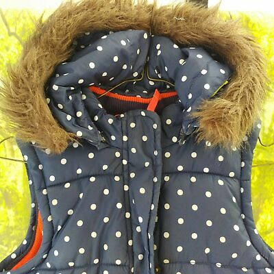 """Mini Boden Navy Spotted Padded Hooded Gilet, 16"""" pit to pit, 22"""" length, 8 years"""