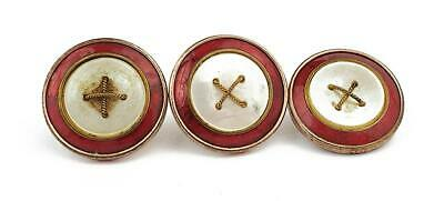 3x Art Deco RED GUILLOCHE ENAMEL & MOTHER OF PEARL DRESS BUTTONS c1920