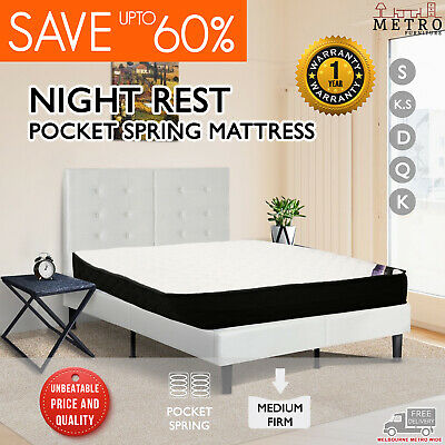 New Luxury Night Rest Pocket Springs Queen Double King Single Mattress, 20cm