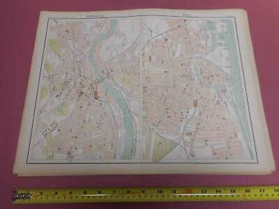 100% Original Large Newcastle Hull  Map  By Bartholomew C1890 Vgc Railways