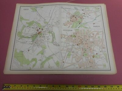 100% Original Large Buxton Warwick  Map  By Bartholomew C1890 Vgc Railways