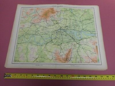 100% Original Large London  Railways Map  By Bartholomew C1890 Vgc Railways