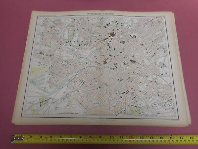 100% Original Large Manchester Salford  Map  By Bartholomew C1890 Vgc Railways