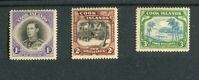 Cook Islands KGVI 1938 set of 3 SG127/9 mint hinged