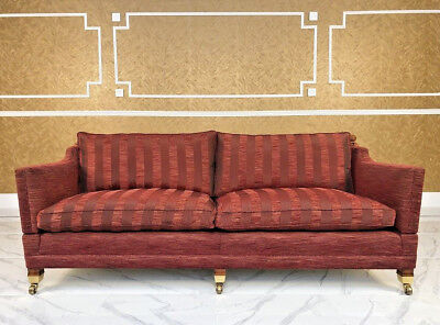 DURESTA TRAFALGAR 3/4 Seater Red Drop Arm Knole Striped Sofa ...