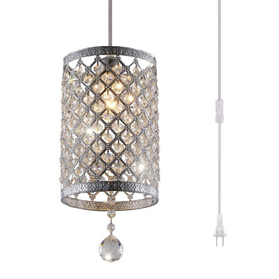 1-Light Portable Hanging Plug-In Pendant Silver Chandelier Hook Ceiling Lamp New