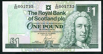 SCOTLAND   Royal Bank   £1  2000   C/83   1st prefix of Goodwin £1  LOW #  UNC