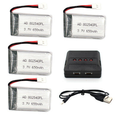 4 Lipo Battery 37V 650mAh 35C 802540 RC Helicopter+1 To 4 Usb Charger  for X5c