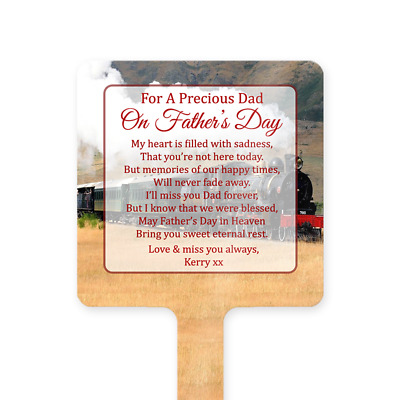 Personalised Father's Day Dad Memorial Card Ground Stake Grave Stone Steam Train
