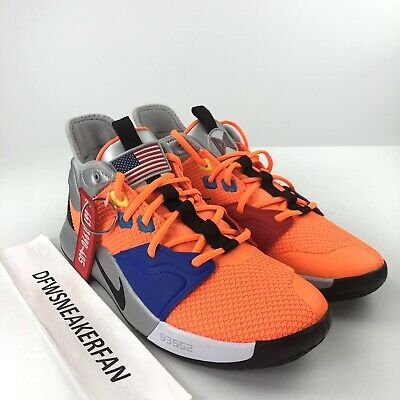 78c5849ef9f Nike Paul George PG 3 NASA Men s 9.5 Basketball Shoes Total Orange  CI2666-800 DS