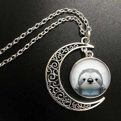 Vintage Sloth Art Pendant Choker Jewelry Silver Moon Necklace For Women Dres