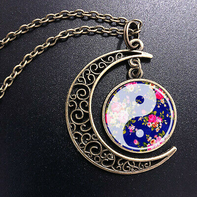 Vintage Ying Yang Art Pendant Choker Jewelry Bronze Moon Necklace For Women Dres