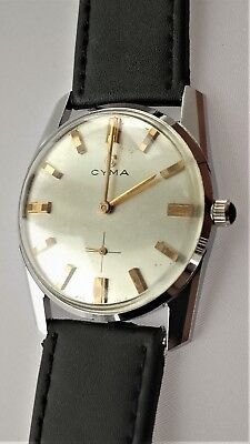 Vintage CYMA synchron 36 watch cal 701, 60s dress mechanical watch NOS case 33.5