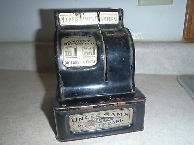 Rare Vintage Uncle Sam's Metal 3 Coin Register Bank,Coin Bank,Antique