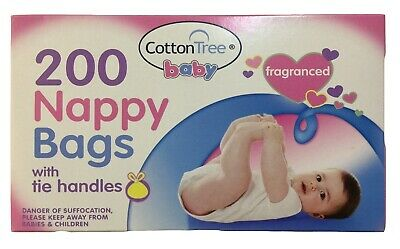 200 pc FRAGRANCED PERFUMED DISPOSABLE BABY NAPPY DIAPER CHANGING BAGS SACKS TIE