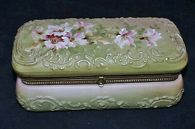 1900s Art Nouveau Monroe Nakara Wavecrest HP Satin Green Opal Ware Glove Box