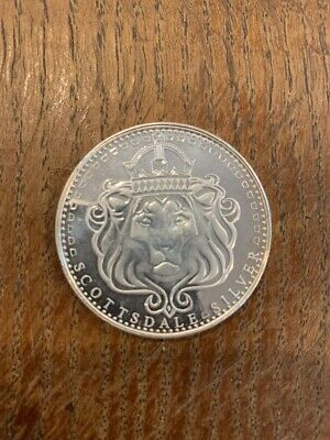 Scottsdale 1 Oz Pure Silver Lions Head Omnia Paratus Round Nice Toning