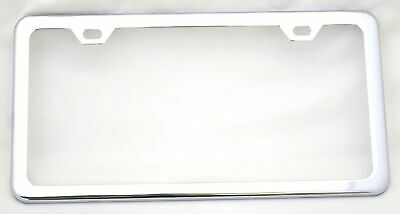 license plate frame chrome plated steel 2 hole top mount thin bottom each