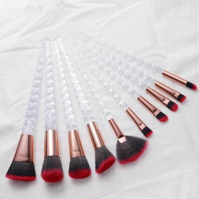 10pcs Unicorn Makeup Brushes Set Crystal Spiral Eye Shadow Cosmetics Tools Kits