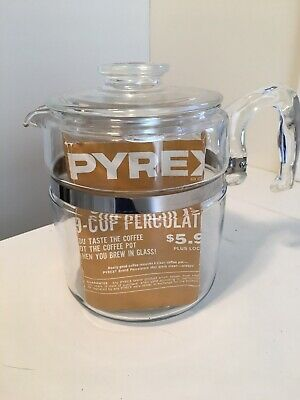 Vintage Flameware Pyrex Glass 9 Cup Coffee Pot Percolator Complete 7759
