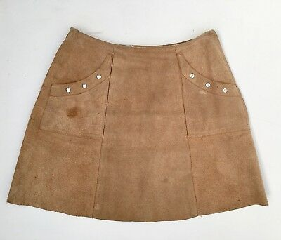 Vintage 60s 70s Light Tan Brown Suede A Line Skirt 6 8 XS Hippy Mod GoGo