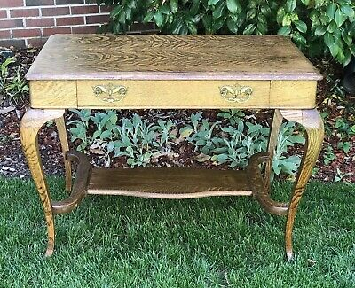 Antique Quarter Sawn Tiger Oak 1 Drawer Library Table, Desk