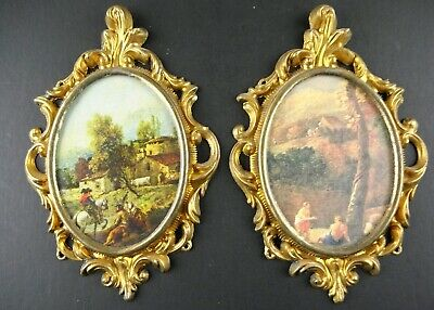 Pair Vintage Ornate Oval Metal Frames Italy Gold Finish