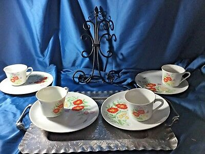 Set Of 4 bold floral Luncheon Tea Cups tennis snack  Plate Japan Stamped