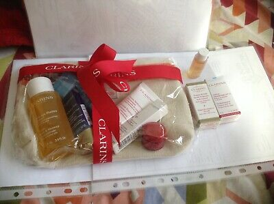 CLARINS Gift SET/HOLIDAYS/BIRTHDAY/Party/Travel/Ideal Gift/8-Items+Cosmetic bag.