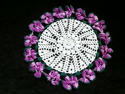 Vintage Crochet Doily Round White w Shades of Purple Pansy Edge 11 inch  CD229