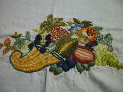 Finished Crewel Embroidery Cornucopia Fruit Vegetables