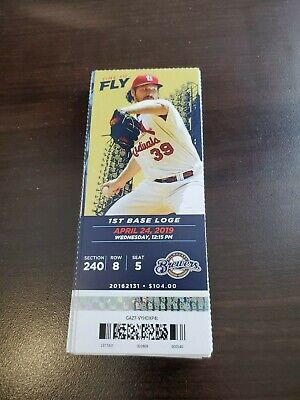 St. Louis Cardinals Milwaukee Brewers MINT Season Ticket 4/24/19 2019 MLB Stub