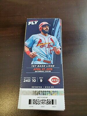 St. Louis Cardinals Cincinnati Reds MINT Season Ticket 4/27/19 2019 MLB Stub