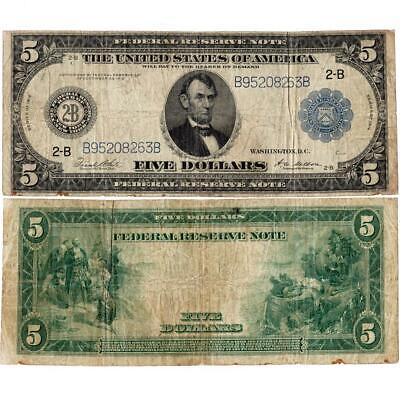 1914 $5 Federal Reserve Bank of New York Note Fr. 851B - Very Good