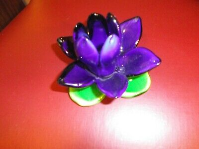 New Hand Blown Glass Flower Cobalt Blue Lotus Blossom! Pretty green base.SALE