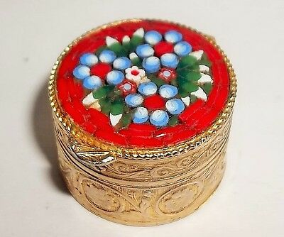 Vintage MICRO MOSAIC Italian Round Red Pill or Snuff Box 1950's
