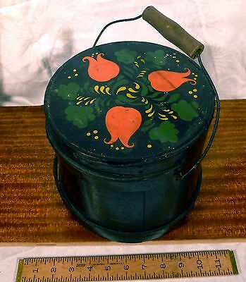 Antique Firkin Sugar Bucket Folk Art Paint Primitive Country Tole Farm Folk Art