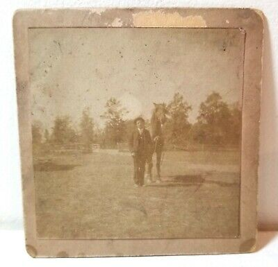 Man with his horse, Illinois, small cabinet photo c. 1910
