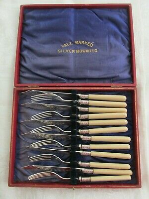 Boxed Set Antique Sterling Silver Mounted Fish Knife and Fork Set Sheffield