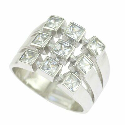 925 Sterling Silver Princess Clear CZ Triple Row Silver Band Ring
