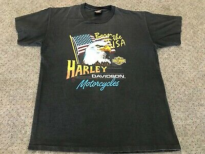 LARGE - Vtg 1987 Harley Davidson Motorcycles Born In The USA Eagle T-Shirt