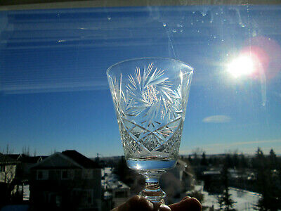 4 Crystal Wine / Water Goblets / Glasses Pinwheel Pattern- Gloria Reiner Trading