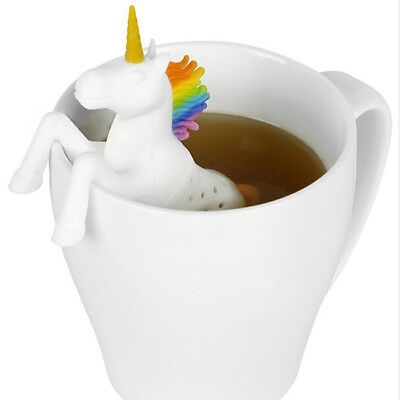 Cute Unicorn Tea Strainer Silicone Infuser Leaf Diffuser Spice Herbal Filter GR
