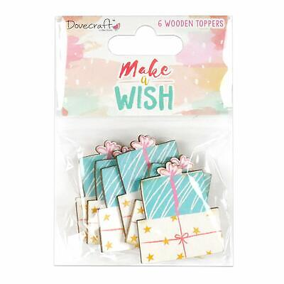 CLEARANCE 6 MAKE A WISH Wooden Present Gift Birthday Card Making Embellishments
