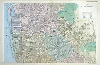 LIVERPOOL  - Original Antique Map / Street Plan - BACON , 1907