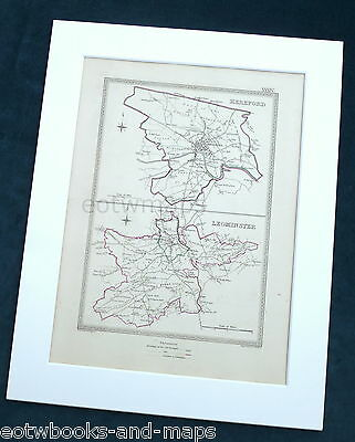 HEREFORDSHIRE, 1835 - HEREFORD, LEOMINSTER, Original Antique Town Boundary Map