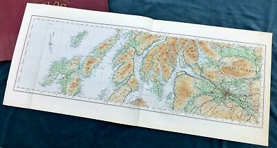 SCOTLAND - Vintage Cloth OS MAP, 1924 - GLASGOW, THE CLYDE, THE INNER HEBRIDES