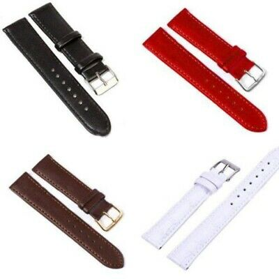 7Sizes Width Genuine Leather Watch Band Solid Strap Men Women Watchband 10Colors