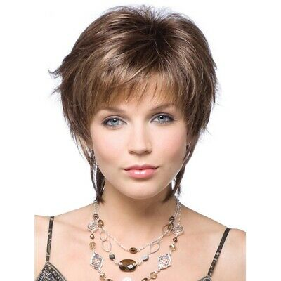 Women Ombre Short Fluffy Wig Ladies Real Natural Curly Full Hair Wigs -Carl