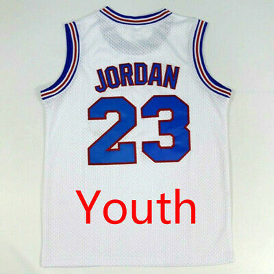 bd09d998b1b70d Michael Jordan 23  Looney Toones Jersey Basketball KIDS White Space Jam  Stitched